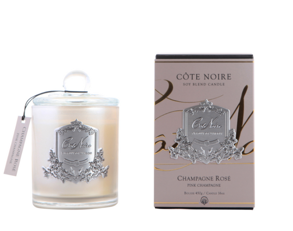 Cote Noire 450g Soy Blend Candle - Pink Champagne - Silver - GMS45018