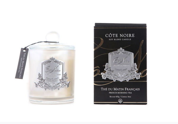 Cote Noire 450g Soy Blend Candle - French Morning Tea - Silver - GMS45001