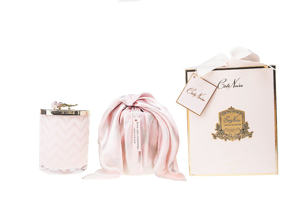 Cote Noire - Herringbone Candle With Scarf - Pink - Pink Rose lid - HCG04