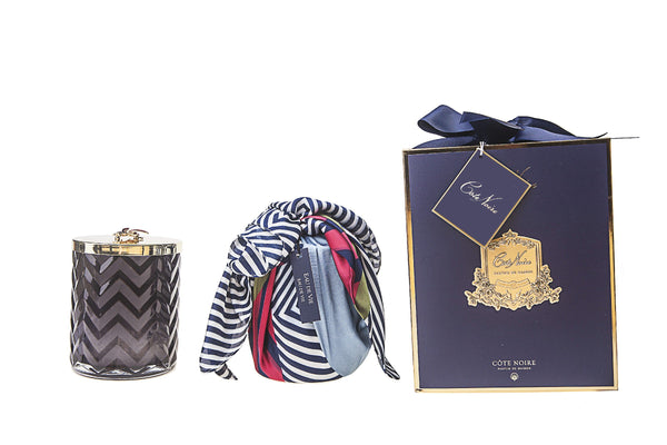 Herringbone Candle With Scarf Eau de Vie- Navy & Dragonfly lid - HCG05