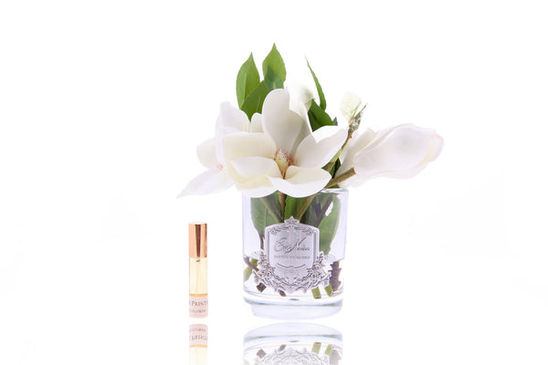 Cote Noire Perfumed Magnolias in Clear Glass - Ivory - SFP07