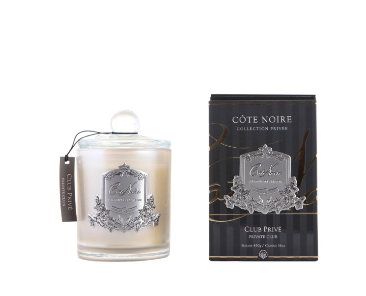 Cote Noire 450g Soy Blend Candle - Private Club - Silver - GMS45025