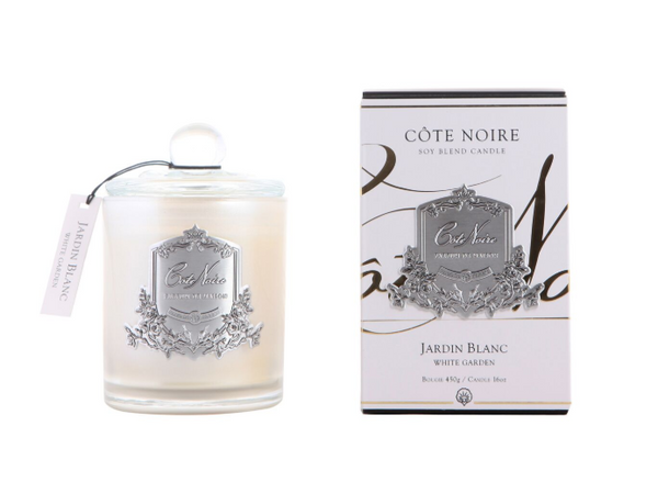 Cote Noire 450g Soy Blend Candle - White Garden - Silver - GMS45004