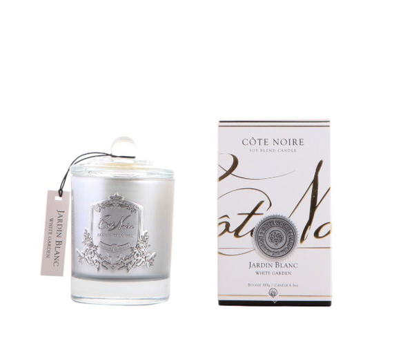 Cote Noire 185g Soy Blend Candle - White Garden - Silver - GMS18504