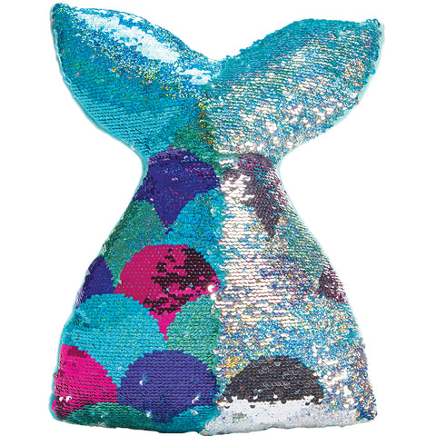 Mermaid Tail Reversible Sequin Fiber FIlled Pillow With Fleece Back By Iscream