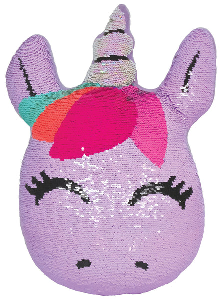 Mini Unicorn Reversible Sequin Fiber FIlled Pillow With Fleece Back By Iscream