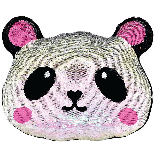 Mini Panda Reversible Sequin Fiber FIlled Pillow With Fleece Back By Iscream