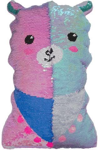 Mini llama Reversible Sequin Fiber FIlled Pillow With Fleece Back By Iscream