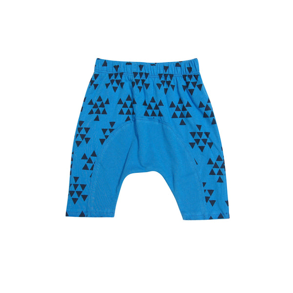GO GENTLY BABY JERSEY PANEL SHORT - PACIFIC BLUE TRIANGLES
