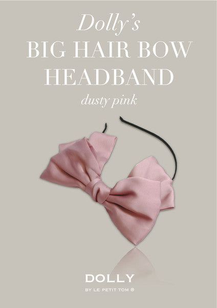 DOLLY By Le Petit Tom ® Big Hair-Bow Headband - Dusty-Pink
