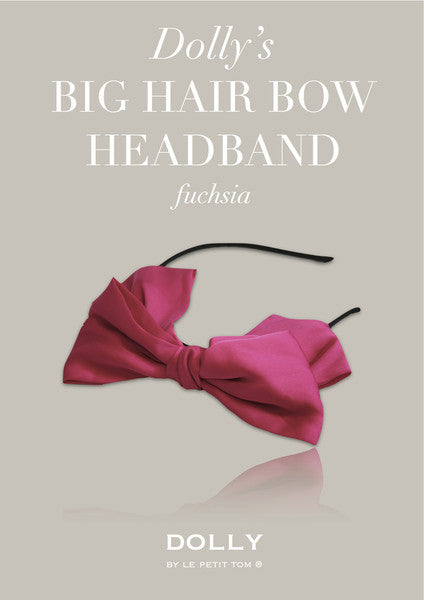 DOLLY By Le Petit Tom ® Big Hair-Bow Headband - Fuchsia