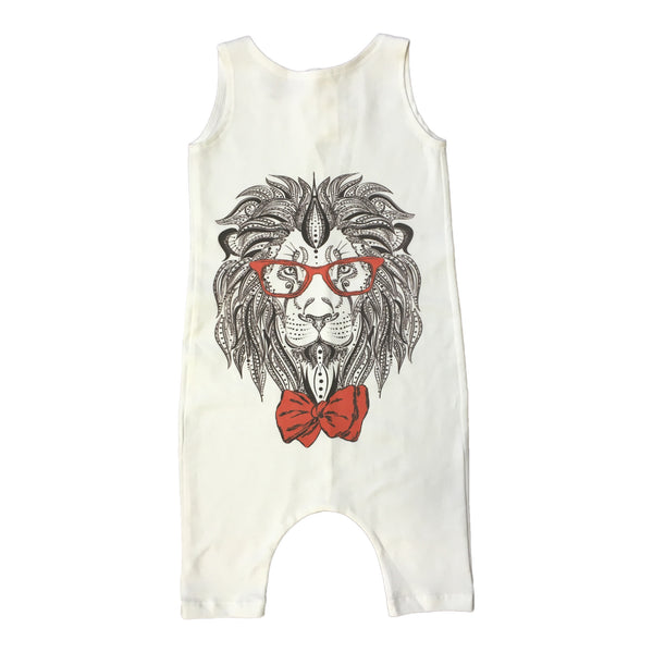 Milan And Oz Tank Romper - Hipster Lion Glasses & Bow Tie