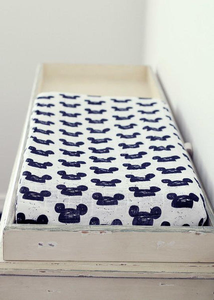 Modern Burlap Modern Mouse Organic Cotton Muslin Changing Pad Cover