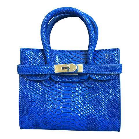 Chloe K Python Victoria Bag - Royal Blue