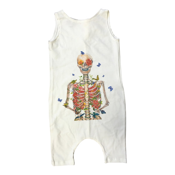 Milan And Oz Tank Romper - Butterfly Flower Skeleton