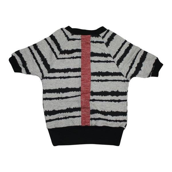 MILAN AND OZ SWEATER DRESS PRINT WITH RED STRIP DETAIL