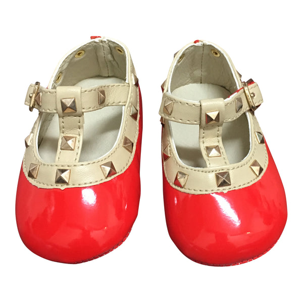 Patent Leather Rockstud Crib Shoe - Red