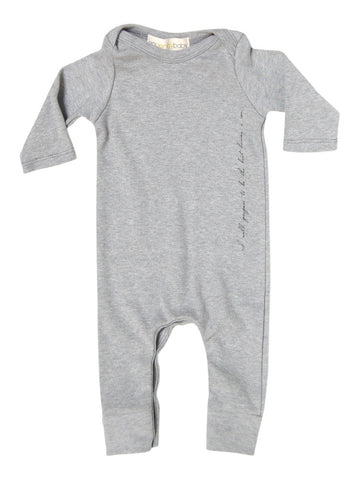 GO GENTLY BABY MESSAGE ROMPER HEATHER GREY
