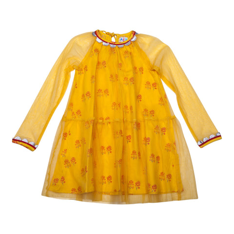 Emma Dress Mustard with Tulie Overlay