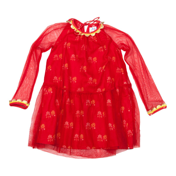 Emma Dress Red with Tulie Overlay