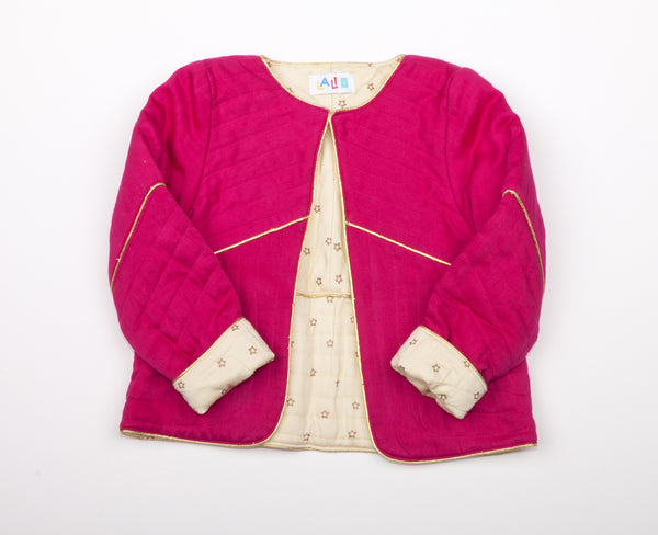 Double-Sided Quilted Jacket Dark Pink