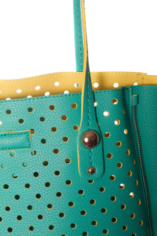 Baggage Perforated Side Zipper Detail Tote