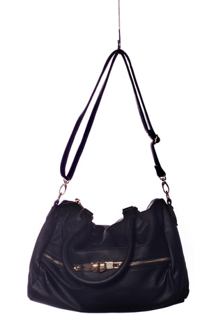 Baggage Zipper Satchel Tote In Black
