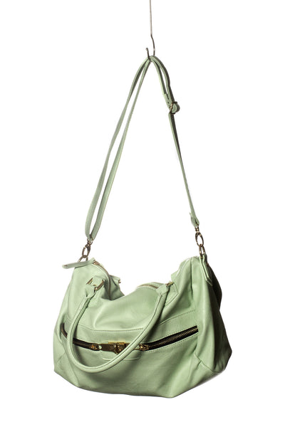 Baggage Zipper Satchel Tote In Mint