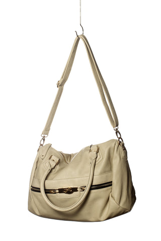 Baggage Zipper Satchel Tote In Cream