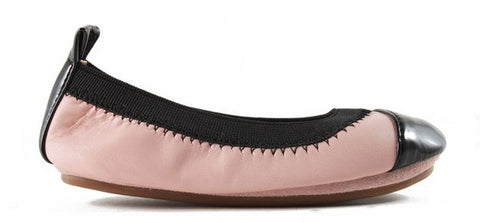YOSI SAMRA ROSE CLOUD/BLACK SOFT LEATHER FLAT