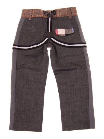MINI SHATSU TWEED-HERRINGBONE SUSPENDER PANTS