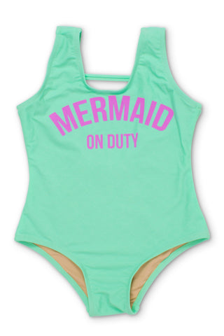 Shade Critters Mint Mermaid on Duty Scoop Swimsuit (Scales appear when wet!)