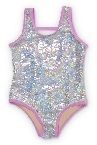 Shade Critters Purple/Silver Flippable Sequins Scoop Swimsuit