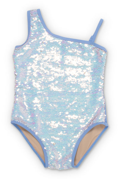 Shade Critters Periwinkle/Silver Flippable Sequins One Shoulder Swimsuit