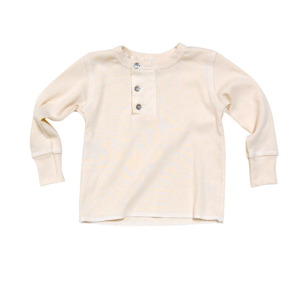 GO GENTLY BABY WIDE PLACKET HENLEY NATURAL