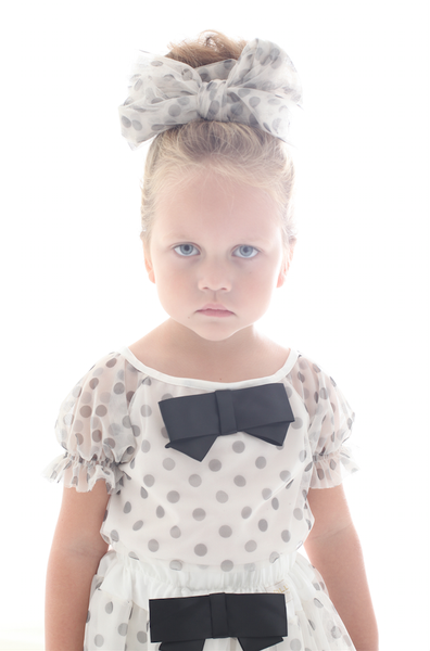 DOLLY By Le Petit Tom ® Dotty Scarf with Navy Dots
