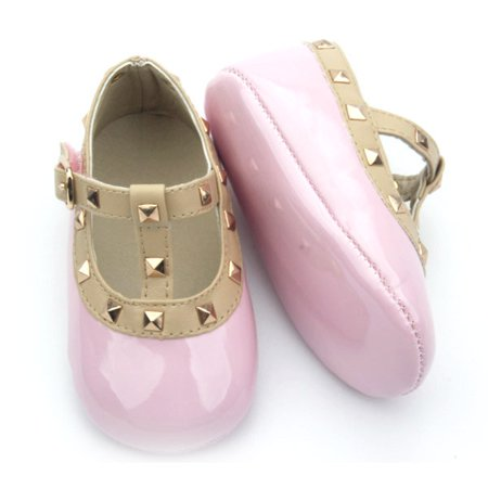 Patent Leather Rockstud Crib Shoe - Pink