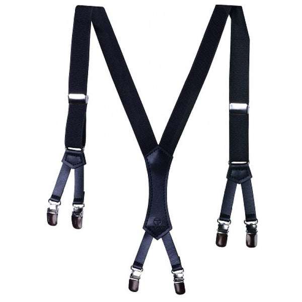 Troy James Boys Black Premium Suspenders W/ 6 Clips