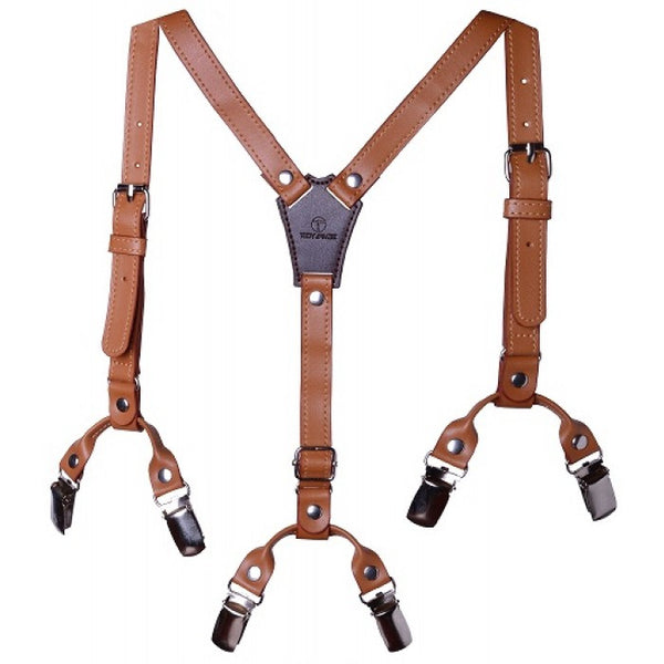 Troy James Boys Brown Premium Suspenders