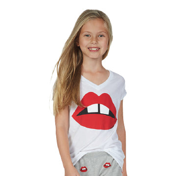 Lauren Moshi Kids Dory S/S V-Neck Tee - Red Gap