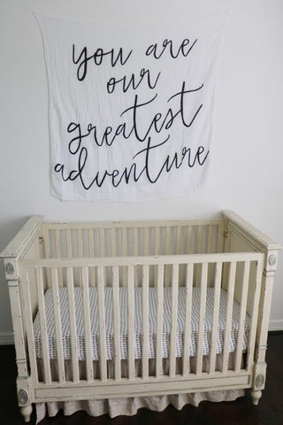 Modern Burlap You Are Our Greatest Adventure Organic Cotton Muslin Swaddle Blanket