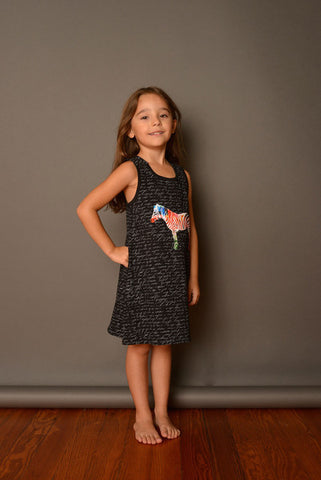 NUI TAHILA TANK DRESS BLACK TEXT