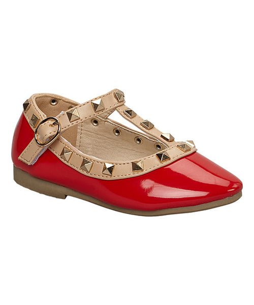 Chloe K Patent Leather Rockstud Sandal - Red