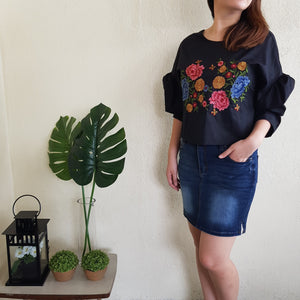 PRUE EMBROIDERY TOP (BLACK)