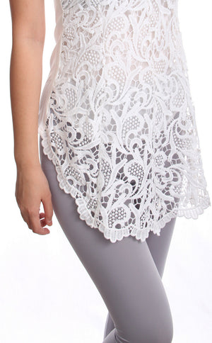 Cadlyn Front Lace Top (White) [S,M,L,XL]