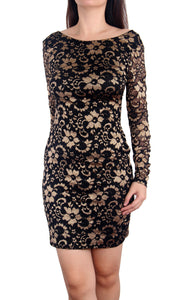 Raynia Gold Lace Dress