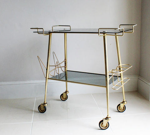 Gorgeous French 1970's Glass and Brass Drinks Trolley