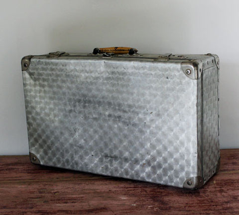A 1940's Silver Metal Suitcase