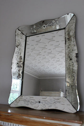 SOLD. A Decorative French Etched Glass early 20th Century Mirror