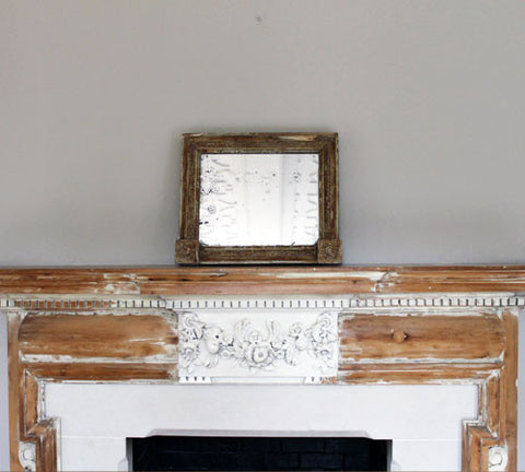 A Distressed, Painted Mantelpiece Mirror